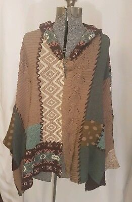$ CDN150 • Buy ANTHROPOLOGIE SLEEPING ON SNOW Hooded Patchwork Cardigan Poncho Sweater O/S