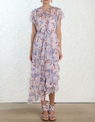 $365 • Buy Zimmermann Lilac Orchid Floral Silk Ruffle Flutter Dress Size 0/ US 4 $1,200