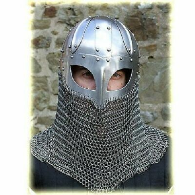 Historical Medieval Viking Helmet Battle Armor+18G Steel And Chain Mail Sca • 46.50£