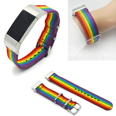 AU13.99 • Buy For Fitbit Charge 2 3 4 Rainbow Nylon Watch Band Sport Wrist Strap Metal Clasp