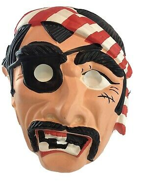 $ CDN29.97 • Buy Halloween Mask Vintage Pirate 1960s Hard Plastic Form Adult Size