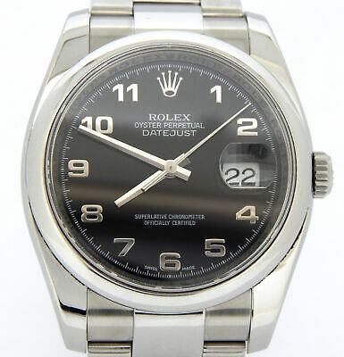 $ CDN8460.39 • Buy Rolex Datejust Mens Stainless Steel Watch Oyster Band Black Arabic Dial 116200