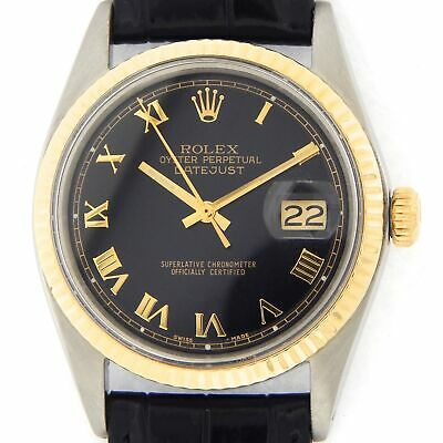$ CDN5227.14 • Buy Rolex Datejust 1601 Mens 14K Yellow Gold Stainless Steel Watch Black Roman Dial
