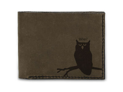 Owl Silhouette Tattoo Handmade Natural Genuine Pull-up Leather Wallet MHLT_03 • 19.94£