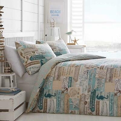 Blue Duvet Covers Coastal Beach Seaside Print Natural Quilt Cover Bedding Sets • 24.95£