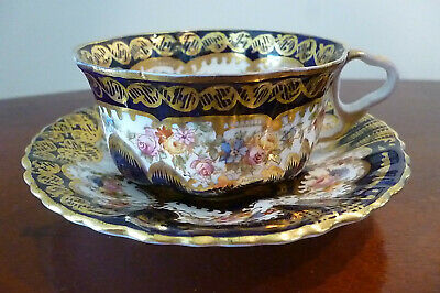 £54.99 • Buy Victorian Crown Staffordshire Cup And Saucer - Cobalt Blue/Gilt & Floral Pattern