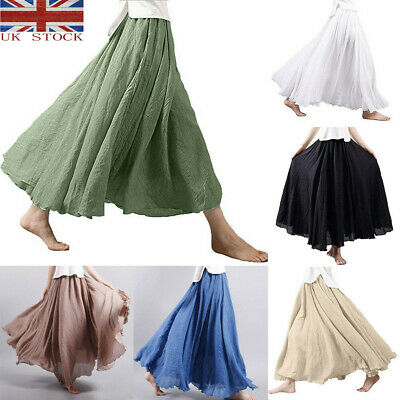 New Bohemian Pleated Ethnic Long Maxi Dress Casual Women Linen Cotton Long Dress • 9.19£