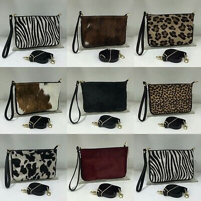 Real Leather & Pony Skin Pouch/Clutch/Cross Body/Shoulder Bag SMALL • 24.99£