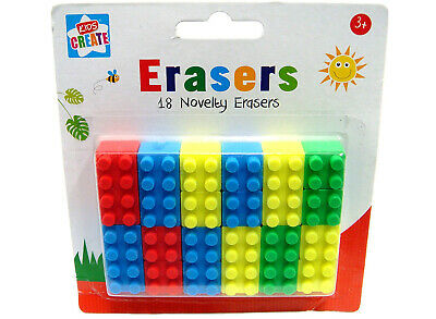 18 Novelty Toy Brick Erasers Rubbers Back To School Kids Brick Style Block • 2.13£