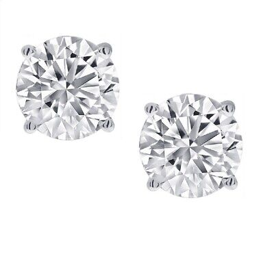 View Details 1/2ct Real (Natural) Round Diamond Solitaire Stud Earring Set In 14K White Gold • 189.98$