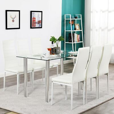 $188.99 • Buy Hot 7 Piece Dining Table Set 6 Chairs Glass Metal Kitchen Room Furniture White