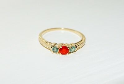 AU409 • Buy .10ct (9ct) Yellow Gold Mexican Fire Opal & Natural Alexandrite Ring Size O