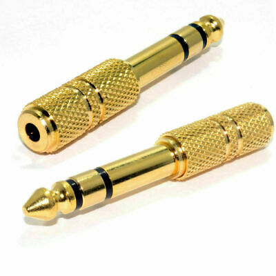 3.5mm Jack To 6.35mm Socket Stereo Headphone Plug Gold Adapter Joiner Connector • 2.49£