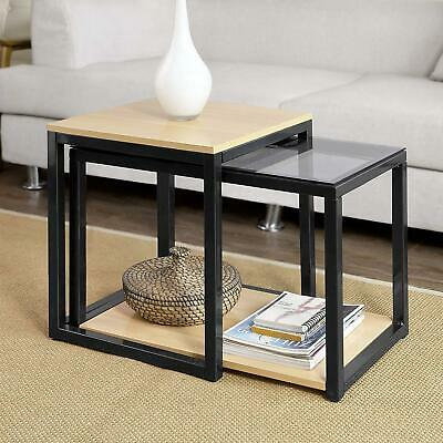 Set Of 2 Nested Tables Side End Units Clear Glass Wood Black Metal Storage Shelf • 73.71£