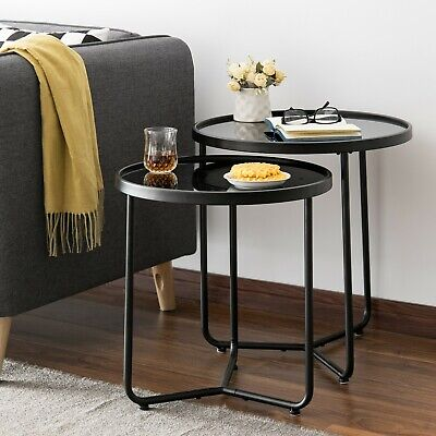 Messina Set Of 2 Round Nesting Table/Side Table-Black Glass (Black/Black)-ST68BK • 62.99£