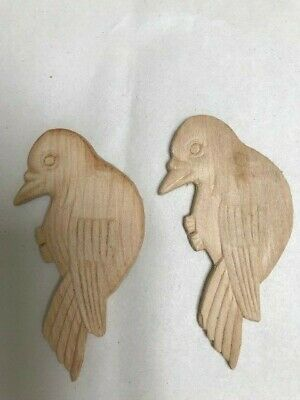 $8 • Buy Carved Applique Decorative Wood Craft Birds  Us Shipped