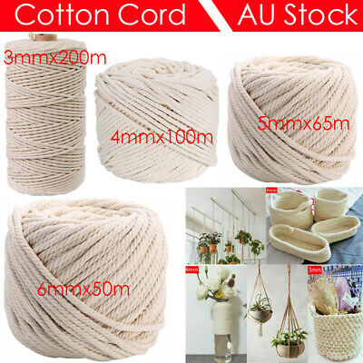 AU15.03 • Buy 3/4/5/6mm Macrame Rope Natural Beige Cotton Twisted Cord Artisan Hand Craft NEW