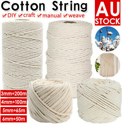 AU15.59 • Buy 3/4/5/6mm Natural Cotton Rope Cord String Twisted Beige Craft Macrame Artisan AU