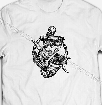 Mens  Womens  Fish And Anchor Sea Fishing 100% COTTON White S-5XL SIZE T-shirt  • 9.99£