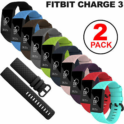 $ CDN7.79 • Buy 2-Pack Sports Soft Watch Band Silicone Strap Bracelet For Fitbit Charge 3