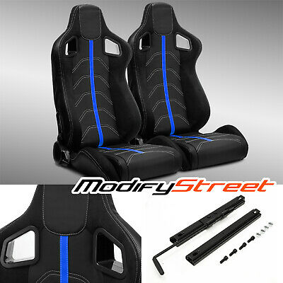 $289.99 • Buy 2 X BLACK PVC LEATHER/BLUE STRIP/WHITE STITCH LEFT/RIGHT RACING BUCKET SEATS