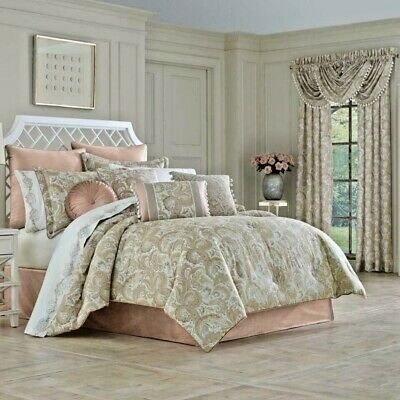 $ CDN249.93 • Buy J Queen New York Caitlin Blush  4 Pc Comforter Bed Skirt Shams Set King Ret $585