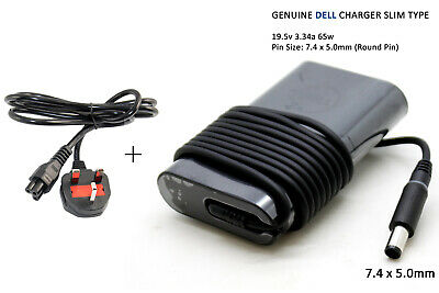 Genuine Dell STUDIO 1555  Laptop Adapter 19.5V 3.34A Power Charger + Cable 65W • 19.64£