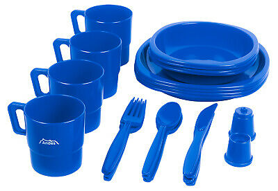 £9.99 • Buy Andes Large 4 Person Plastic Camping/Picnic Plate, Bowl, Mug & Cutlery Set