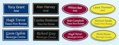 £1.10 • Buy Personalised Name Badges Plates Engraved Pin Fastening Oval Rectangle