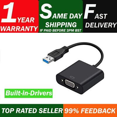 £8.99 • Buy USB 3.0 To VGA Video Adapter Cable Converter 1080p For PC Laptop Windows 7/8/10