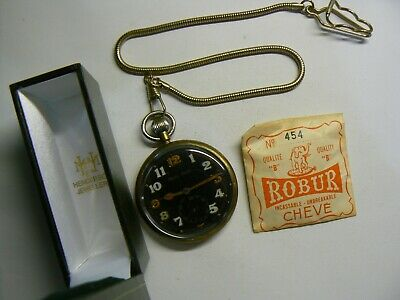 Rare Vintage British Army WW2 Jaeger-LeCoultre Pocket Watch Chain Box Working   • 260£