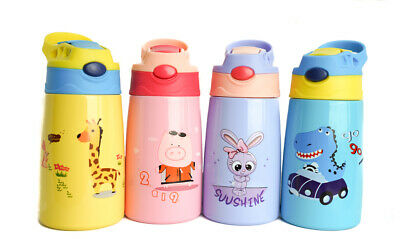 Cartoon Kids Vacuum Flask Glass Liner Coffee Water Bottle Thermos Cup 350ML Gift • 13.99£