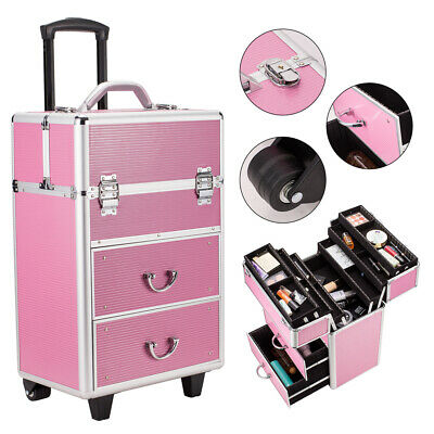 $78.69 • Buy Professional 4 Tier Makeup Train Case Rolling Cosmetic Case Organizer Lockable