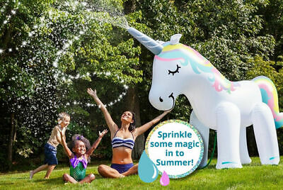 Large Inflatable Unicorn Sprinkler Water Beach Party 6ft Kids Giant Sprayer • 19.95£