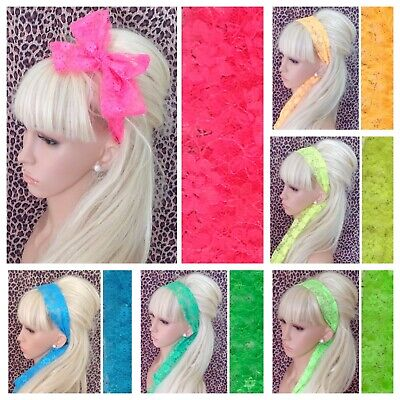 NEW BRIGHT NEON FLORAL LACE FABRIC SELF TIE BOW HAIR SCARF HEAD BAND 1980s RETRO • 2.99£