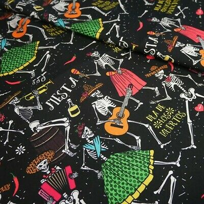 £8.60 • Buy 100% Cotton Fabric Halloween Dancing Calaca Skeletons Mexican Party 140cm Wide
