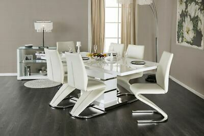 $1995 • Buy New Modern Sorrento White Glossy Lacquer Chrome Dining Table Set Z Shape Chairs