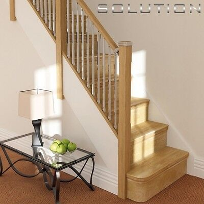 £519 • Buy  Solutions Contemporary Staircase Kit Oak Rails Chrome/brushed Nickel Spindles