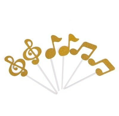 £3.29 • Buy Musical Note Music Note Keyboard Cake Toppers Gold Glitter Cake Decoration X6