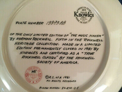 $ CDN23.73 • Buy Norman Rockwell Ltd Edition #13393AB Plate By Edwin M Knowles The Music Maker