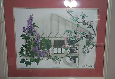 $ CDN411.36 • Buy SALE** 33X27 Maryrose Wampler Framed Lithograph 21/250 Lilac And Apple Blossoms