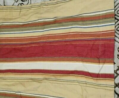 $25.99 • Buy 2pc AWESOME Pottery Barn Joshua Stripe Twin Duvet Cover RED Gold Sham Linen Blnd
