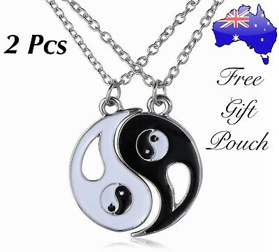 AU6.50 • Buy 2Pcs Ying & Yang Best Friends 925 Sterling Silver Chain Necklace Set Friend Gift