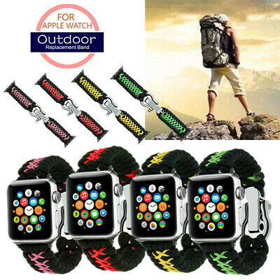 AU11.26 • Buy For Apple Watch 38/42mm 40/44mm Outdoor Sports Woven Parachute Cord Band Strap