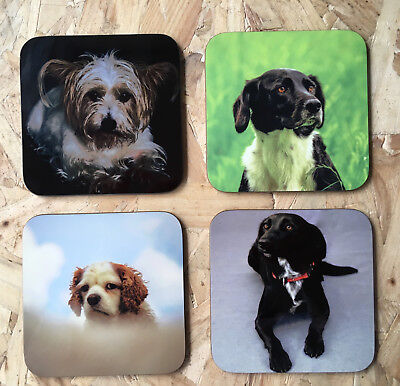 Personalised Square Hardboard Coasters, Text,Photo,Logo, Custom Personalisation • 2.99£