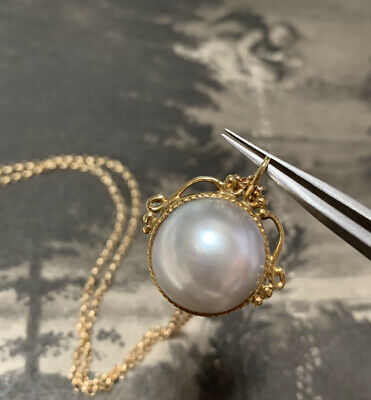 $713.77 • Buy 18ct Gold Mabe Pearl Pendant And Chain 9ct Yellow Gold Chain Necklace