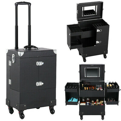 $82.59 • Buy Professional Makeup Train Case Rolling Cosmetic Travel Trolley With Mirror Black