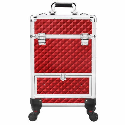 $61.99 • Buy Aluminum Rolling Cosmetic Case Red Professional Makeup Train Case With Drawers