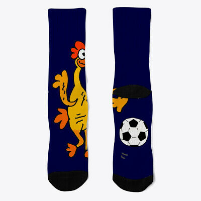 $10.99 • Buy Funny Rubber Chicken Playing Soccer Socks Crew Cute Athletic Custom Printed