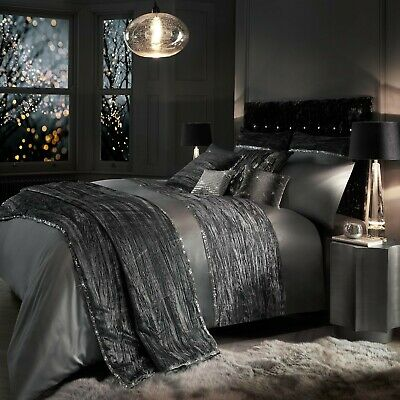 Kylie Minogue Bedding ZANDER Silver Slate Grey Duvet Cover, Cushions Or Throw • 82.99£